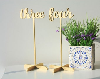 Gold Table Numbers.Wood Table Numbers.SALE Gold Table Numbers with base.Wedding Numbers.