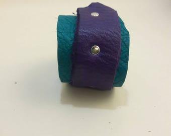Rugged, Leather, Cuff, Wristband, Bracelet, Distressed, Purple, Violet, Aqua, Blue, Turquoise, Gypsy, Fairy, Larp, Garb