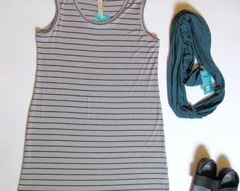 Rayon tank dress, tank top dress, knit rayon dress, grey and black stripe dress, a-line dress, summer dress, stripe tank dress, stripe dress