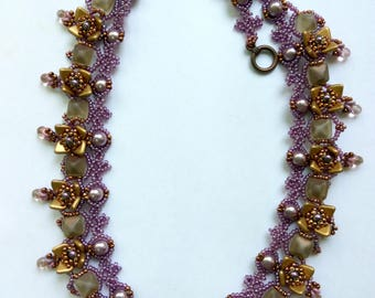 Mauve Pearls, Squares and Triangle Necklace