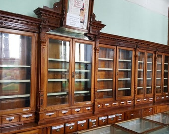 Original S Vintage Wood Pharmacy Apothecary Showcase Display Cabinet  Furniture With Vintage Apothecary Cabinet