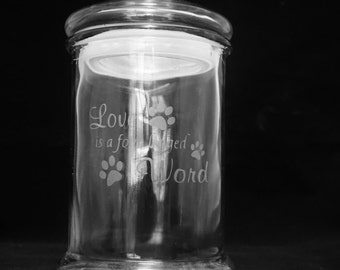 Dog Treat Canister 'Love is a four legged word'