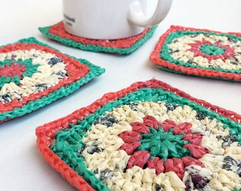 Crocheted Coasters made from plastic bags / Handmade Coasters / Recycled Coasters / Plastic Coasters / Sunny Coasters / Housewarming Gift