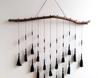 SALE!!! Ornament with tassels and wooden pearls in black #3
