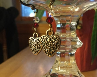 Antiqued Copper Heart Earrings with Swarovski beads