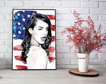 Lana Del Rey Poster Lana Del Rey Art Wall Art Lana Del Rey Decor Lana Del Rey Print Instant Download Lana Del Rey Portrait Home Decor