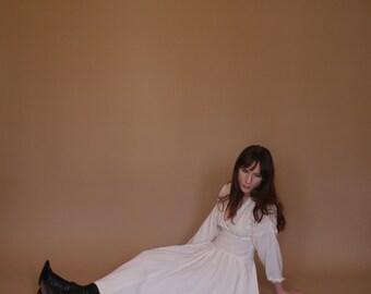 Ivory Dress | Dolman Sleeve | Tea Length | A-Line Skirt | 100% Wool