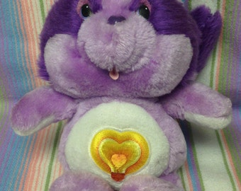 Vintage Care Bear Cousins ~Bright Heart~ Purple Racoon Plush