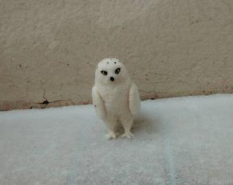 Snowy owl, felted, OWL Filztier, felt figure, dry felting, felt, needle felted, birds, forest, Waldorf, animals in the wild,