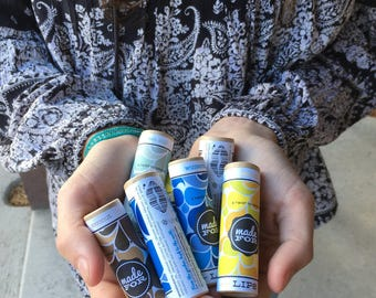 Organic Lip Balm in plastic free biodegradable packaging.