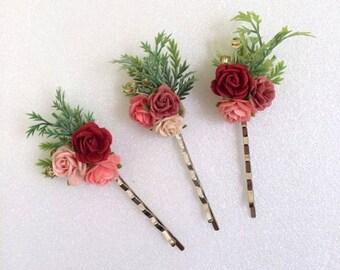 3 Maroon red paper flower hair bobby pins, hair pin, flower hair clips, Hair Accessories, Rustic wedding bridesmaid headpiecs
