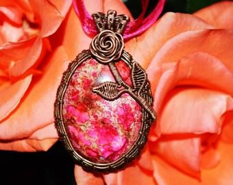 Antique Rose Necklace, Pink Ocean Jasper in Oxidized Copper, Valentine's Gift, Vintage Jewelry