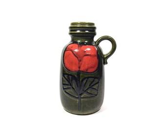 Vintage Vase, Flower Vase, Scheurich Keramik Vase 413, West German Pottery, Ceramic Vase, Homedecor, Fat Lava Vase, Green Vase, 70s