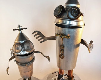 Steampunk Sculpture Robot - Found object assemblage - Junk Bot - Repurposed Art - Motorcycle Goggles - Metal Robot
