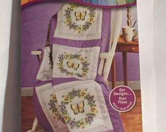 Janlynn Needlecraft - Pansy & Butterfly Stamped Quilt Blocks