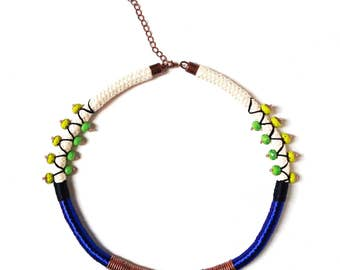 Blue adjustable amulet necklace