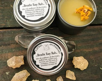 Breathe Easy Balm / Vapor Rub / Herbal Chest Rub / Cold and Flu Relief / Allergies / Decongestant / Sinus Congestion and Respiratory Support