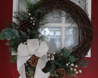 Silver Eucalyptus Winter Wreath