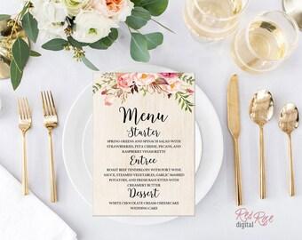 PRINTABLE Rustic wedding menu, custom wedding menu, wedding dinner menu, printable menu, rustic floral menu, rustic wedding decoration