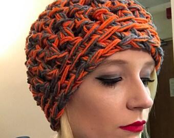 Orange and Gray Crocheted Beanie