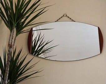Mid Century Teak Frameless Mirror Oval Shape Bevelled Wide