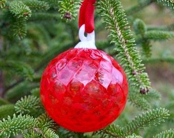 Brilliant Red Holiday Ornament *Handmade* in Corning, NY. Stebuen County *FREE SHIPPING*