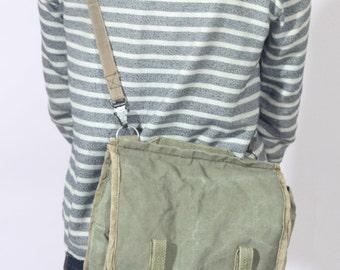 Distressed Canvas Military Bag, Army Crossbody Bag, Khaki Canvas Shoulder Bag