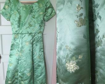 Silk Brocade Vintage Dress, Dress, Vintage, Silk, Silk Brocade, Green, Hostess Dress, Satin, Vintage Dress, Oriental, Easter, Spring