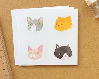 Cat sticker, cat illustration, cat, portrait - stickers 2 pieces