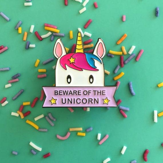 Beware of the Unicorn Cute Kawaii Enamel Pin Badge Lapel Pin