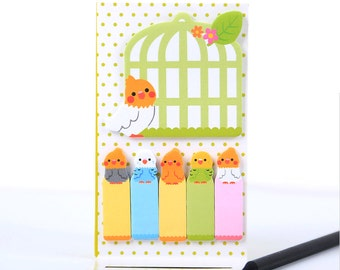 Bird Cage Sticky Notes, kawaii stationery, bird memo pad, cute sticky tabs, planner tabs, bird stationery, sticker tabs, cute post it notes