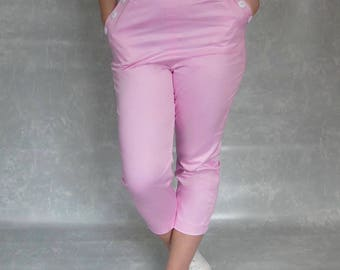 High Waisted Pants // Pink Capri Pants // Womens Capri Pants // Crop Pants // Vintage Style