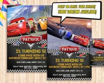 Cars 3 Birthday Invitation (DIGITAL), Cars 3 Party Invitation, Cars 3 Invite Cards, Digital File Printable or Printed Invitation