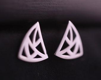 Sterling Silver Triangle Earrings, Geometric Stud Earrings, Luxury Silver Earrings