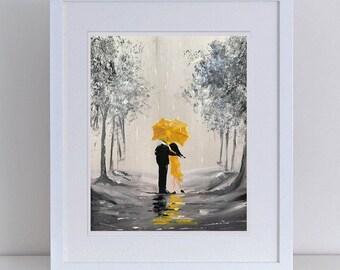 Digital Print of original acrylic painting Mustard Rain 10 x 8 inches