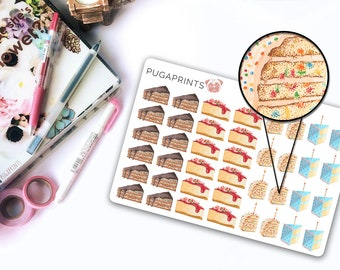 Sweets: Cake || 40 Sweet Deco Stickers