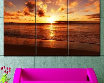 Beach decor, wall decor sunset, sunset, office decor, sunset on canvas, orange sunset, canvas Print, painting on canvas, office decor