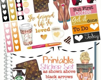 Fashion Girl Stickers, African American Planner Girl, Planner Stickers, Dark Skin Girl, Louis Vuitton Planner Sticker