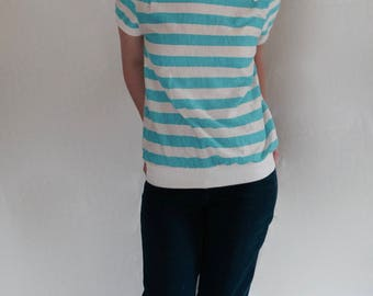 50% Off! 1980s Teal and White Striped Shirt