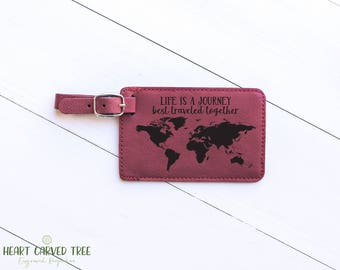 Life is a Journey Luggage Tag, Travel Quotes, Adventure Travelers, Gift for Husband, Leather Luggage Tag, Personalized Anniversary Gift LT26