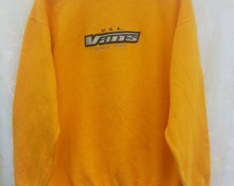 Great!!Vtg VANS Sweatshirt// Yellow Sweatshirt// Skateboard Brand// Vans Spellout Embroidered// Size M// Powell Dog Town Bitch