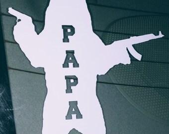 White Papa Bear Vinyl Car Window Decal