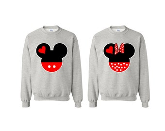 Mickey Minnie Head Matching Clothes Anniversary Bride and Groom Gift Christmas Gift Couple Clothes Mr Mrs King Queen Couple Looking Clothes