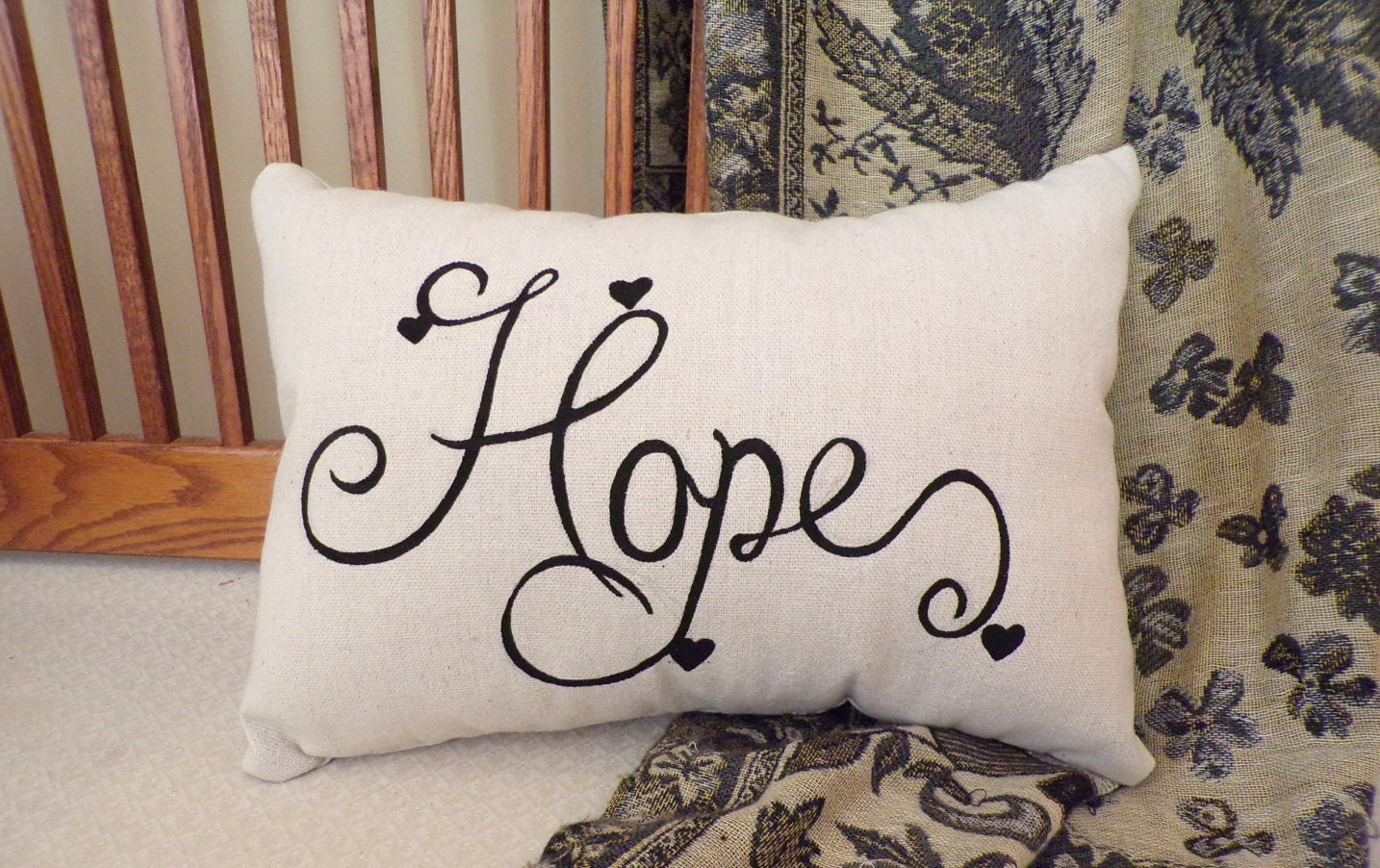 Hope Decorative Pillow : Hope Hand Painted Throw Pillow on Soft Canvas Fabric/Christian