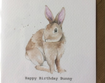 Happy Birthday Bunny Card taken from an Original Watercolour / Notelets / Birthday Cards / Thank you Cards / Blank Cards