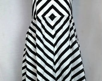 Vintage Black and White Striped Strap Dress, Summer, Beach
