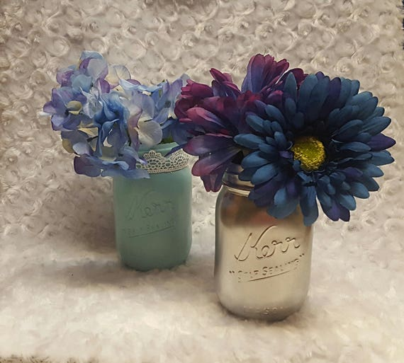 Set of 2 Painted Mason Jar Vases