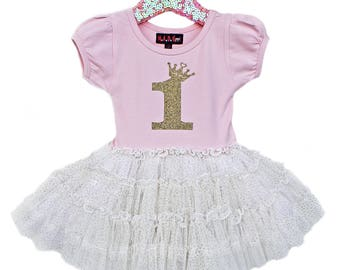 First Birthday Dress, 1st Birthday Outfit Girl, Birthday Princess, Pink Tutu Dress, Pink and Gold Party, Cake Smash Outfit