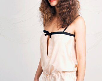 Peach Satin Playsuit NightWear - Playsuit Sleepwear available sizes 8-10, 12-14