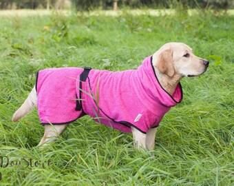 Dog Bathrobe fuchsia/pink - Made to Order - Doggy bathrobe